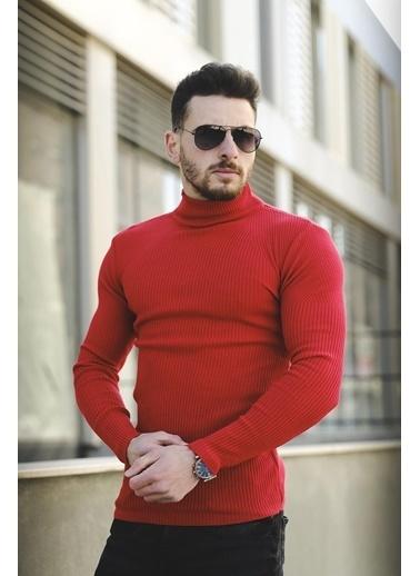 Oksit Sorte T015 Extra Slim Fit Bogazlı Triko Kırmızı